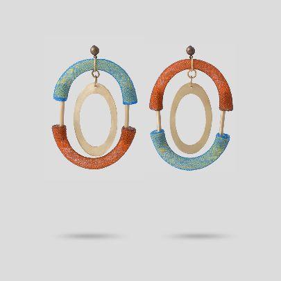 تصویر گوشواره نارنجی آبی