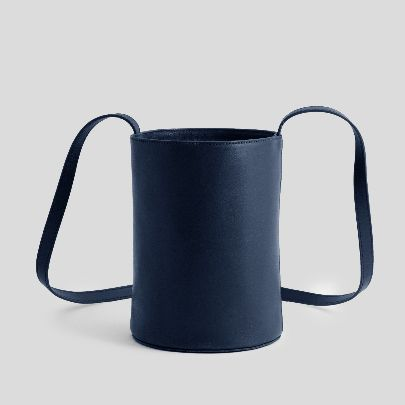 Picture of navy blue leather bucket bag