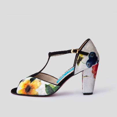 Picture of white floral high heels