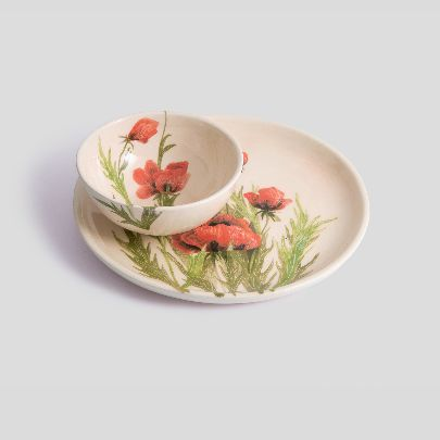 Picture of poppy set of bowl and dish