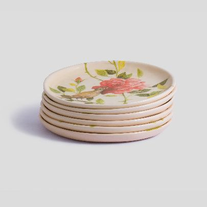 Picture of nightingale and rose set of 6 plates