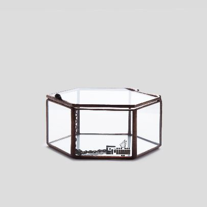 Picture of hexagon glass box with lid