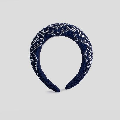 Picture of dark blue and silver hairband