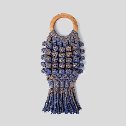 Picture of dark blue & gold fish handbag