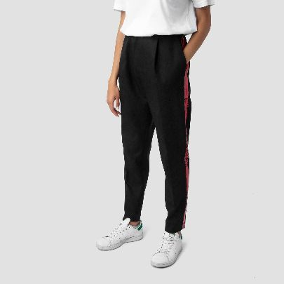 Picture of black pants with red stripe