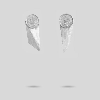 تصویر گوشواره اوریگامی و سکه