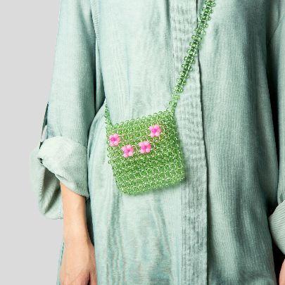 تصویر  کیف مربع سبز و صورتی