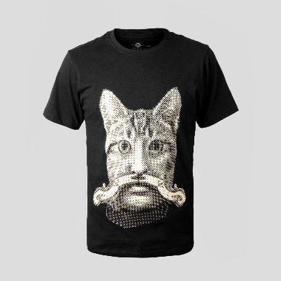 تصویر آستین کوتاه گربه سیبیل دار