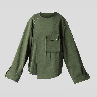 تصویر پیراهن جلو بسته سبز