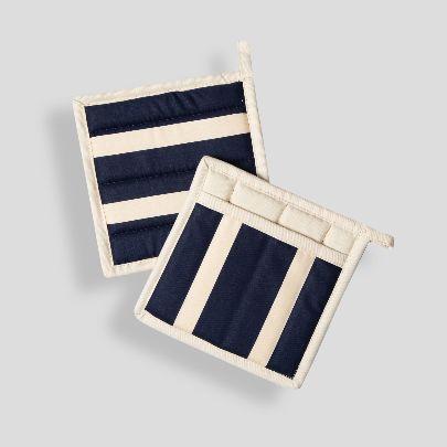 Picture of blue& ecru square pot gloves