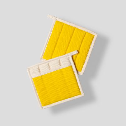 Picture of Yellow& ecru square pot gloves