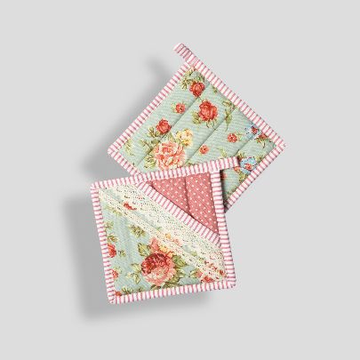 Picture of Pink floral square pot gloves