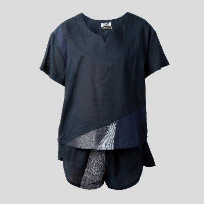 تصویر  ست لباس راحتی با شلوارک سرمه ای
