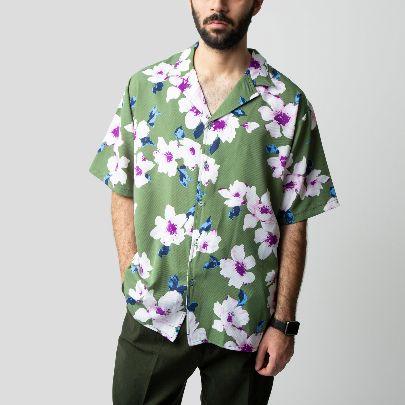 تصویر  آستین کوتاه گل گلی سبز