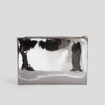 Picture of Grey patent leather handbag