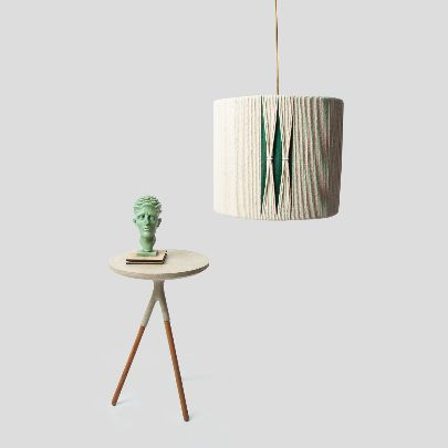 Picture of Beige & green cylindrical chandelier