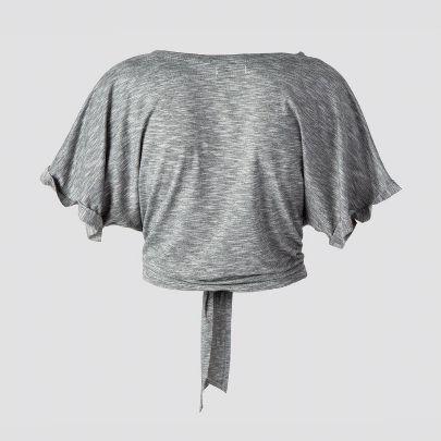 تصویر آستین کوتاه گره دار خاکستری