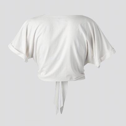 تصویر آستین کوتاه گره دار سفید