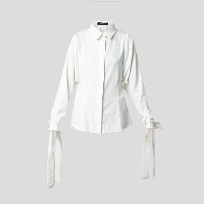 تصویر آستین بلند سفید بند دار