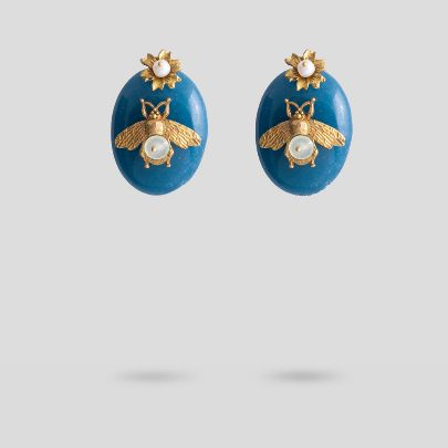 Picture of Bee with blue antique earrings