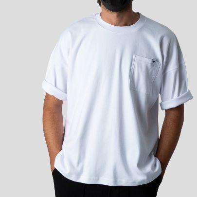 تصویر آستین کوتاه سفید جیب دار ساده