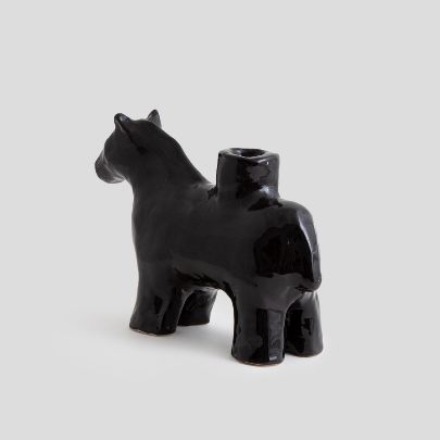 Picture of Black horse candlesticks